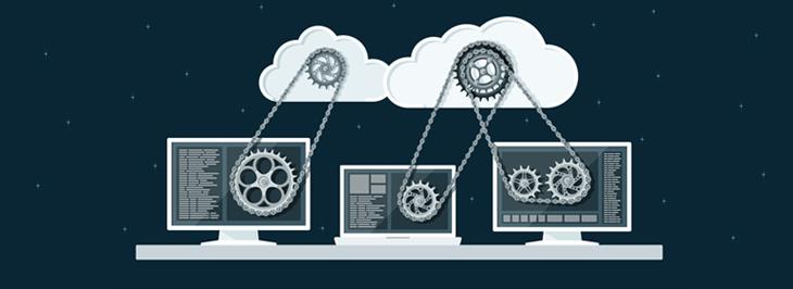 Computers, clouds, and gears represent cloud computing